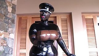 The Busty Latex Uniform Bitch - Blowjob Handjob with Latex Gloves - Cum in my Mouth