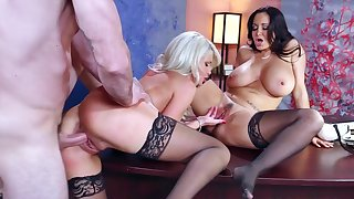 Hot male gets two milfs to simply demolish his dick