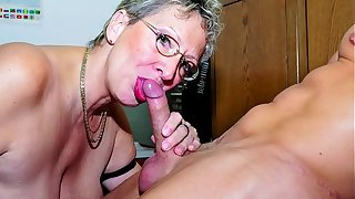 XXX OMAS - Dirty German granny gets boned and covered in cum at the office