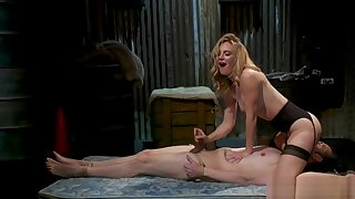 Blonde Milf domme wanks dick to slave