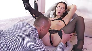 Petite Russian beside sexy black stockings rides grey cock. Pt.1