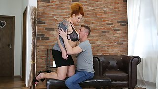 Chubby mature red head Tammy Jean seduces young lady's man living nextdoor