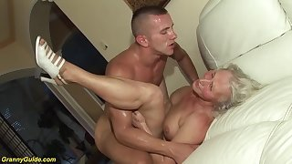 horny 76 ripen old granny gives a wikd tit fuck and extreme deepthroat for her young toyboy